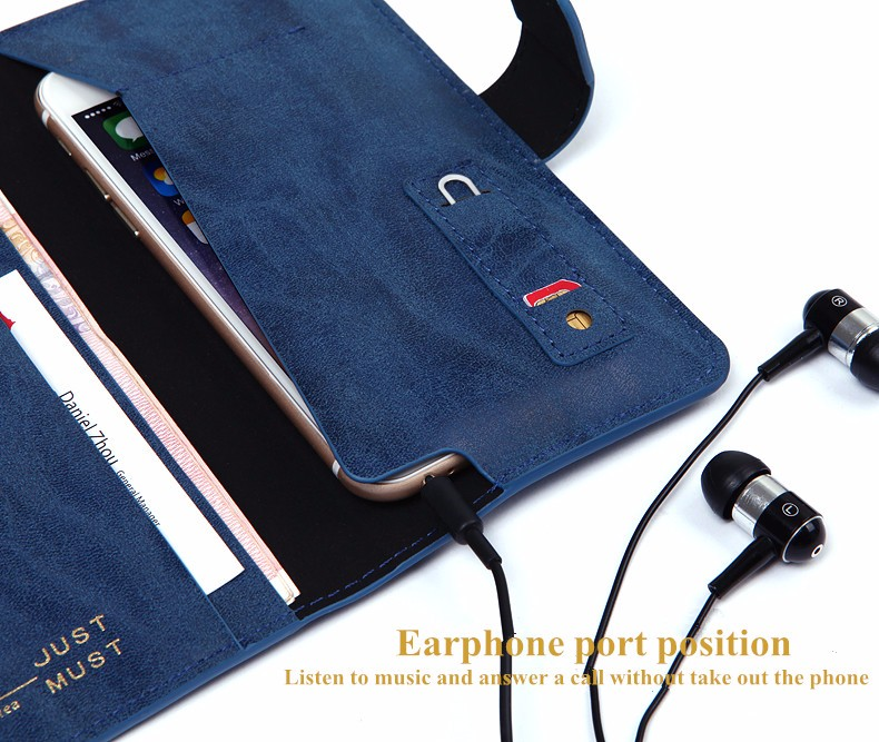 Universal Multifunctional Phone Wallet PU Leather Card Slot Phone Bag with Strap for Smartphone under 6 inch