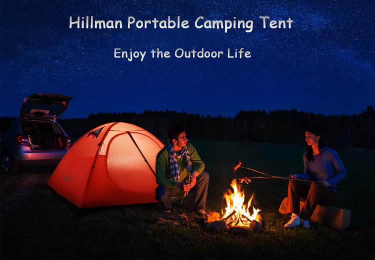 Hillman 2 People Camping Tent Waterproof Windproof Double Layer UV Sunshade Canopy