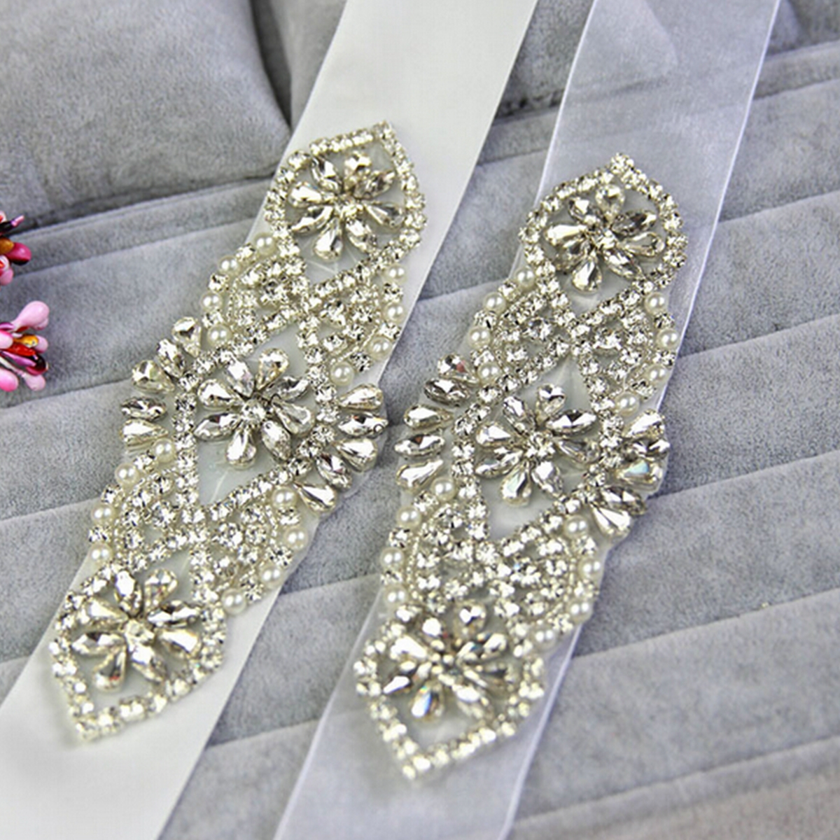 Bridal Vintage Crystal Sash-Rhinestone Yarn Ribbon Wedding Dress Belt