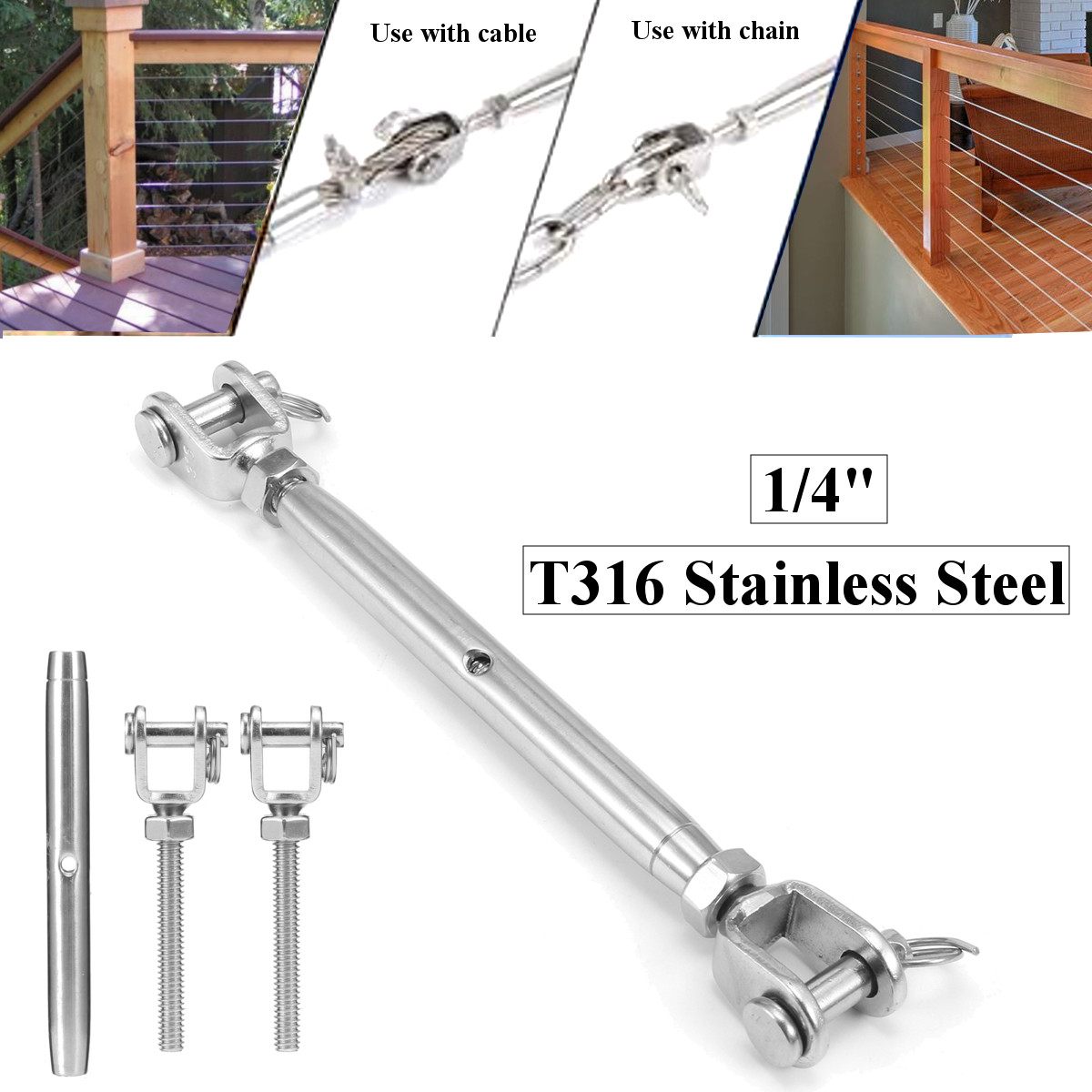 1/4 Inch 316 Stainless Steel Jaw & Jaw Turnbuckle Closed Body Marine Grade 432 lb