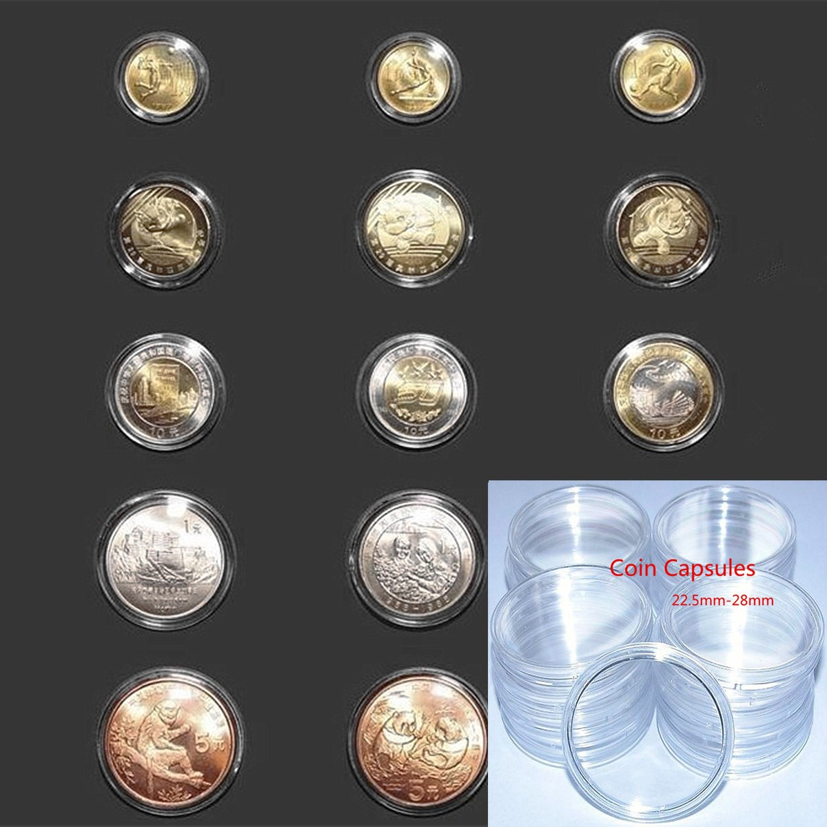 22mm-28mm Coin Capsules Case Coins Holders Specie Container Storage Boxes Organizer Collectibles