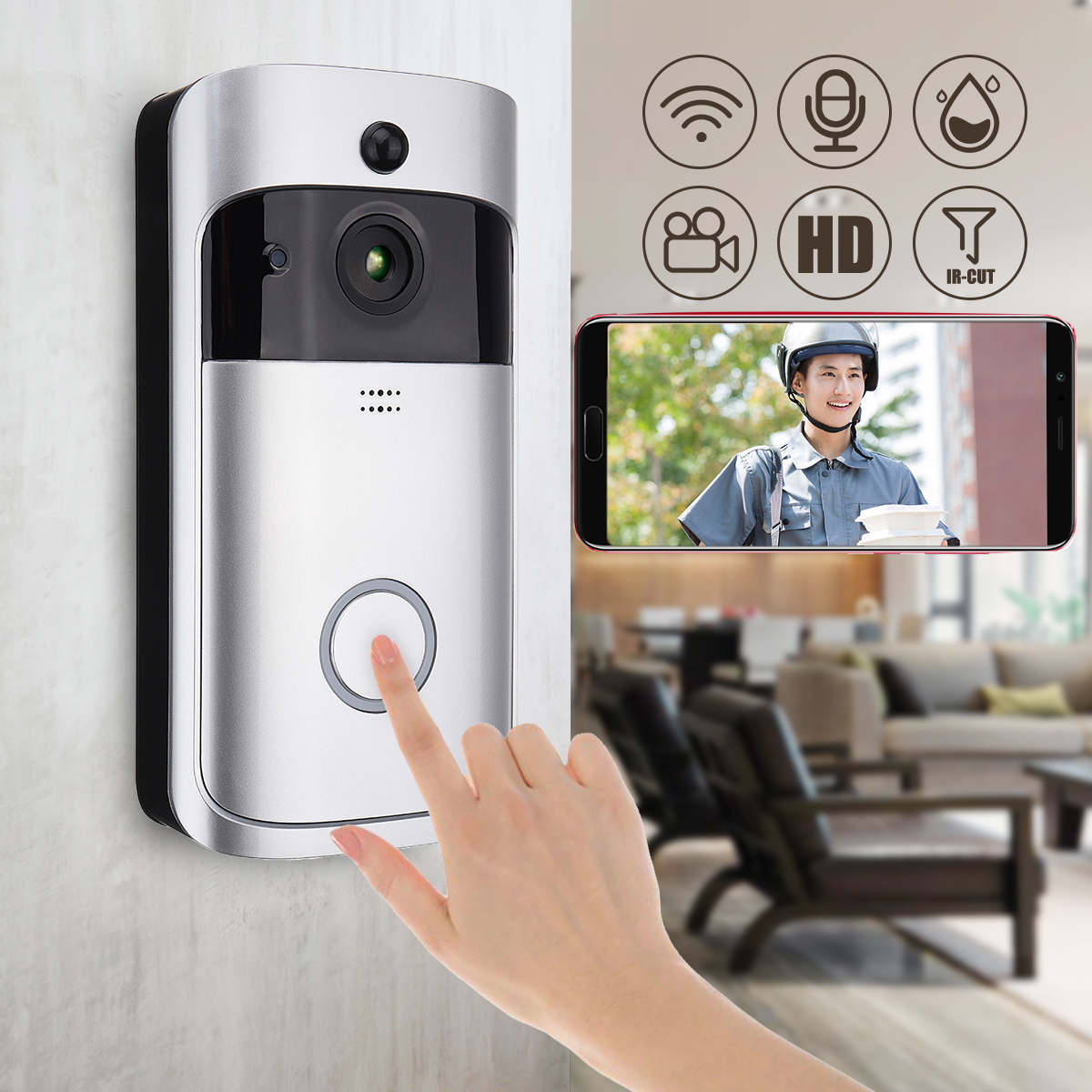 Wireless WiFi Smartphone Remote Video Camera Doorbell Rainproof Home Security