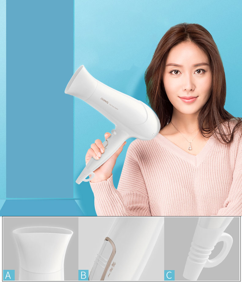 RIWA RC-7161 and RC-7162 2200W Household Electric Hair Dryer Air Temperature Adjustment Fast Drying Hair Blower