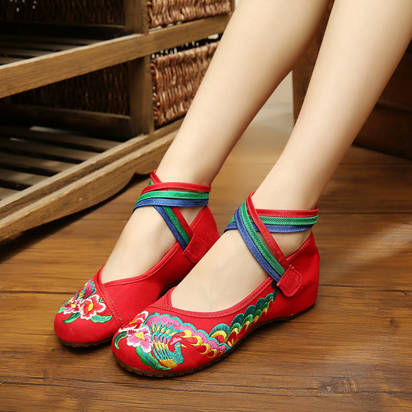 Big Size Mary Janes Chinese Style Flat Loafers Flower Printing Handmade Shoes