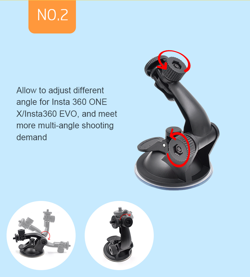 STARTRC Camera Full Rotation Car Windshield Window Suction Cup Mount for Insta360 One X or EVO
