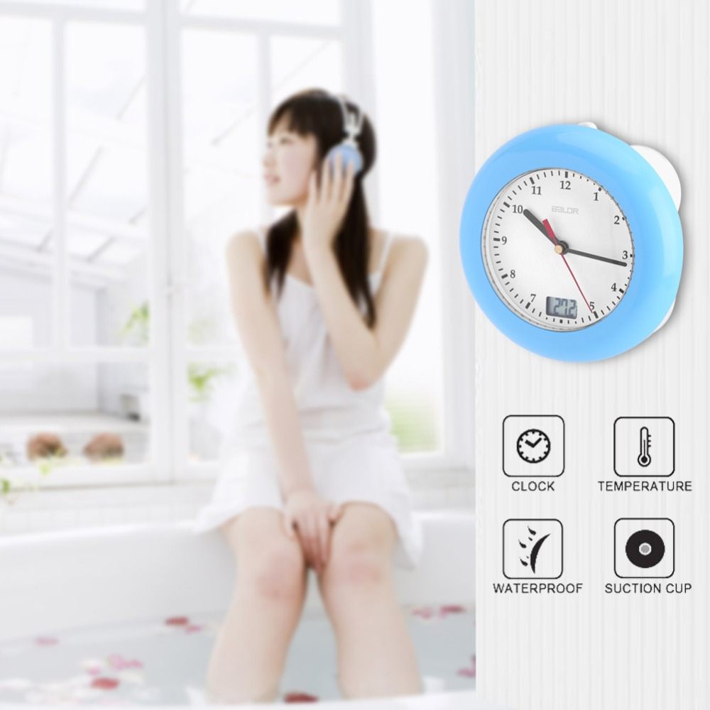 Baldr Temperature Sensor Digital Thermometer Wall Display Suction Cups Hanging Table Desk Analog Waterproof Shower Watch Clock
