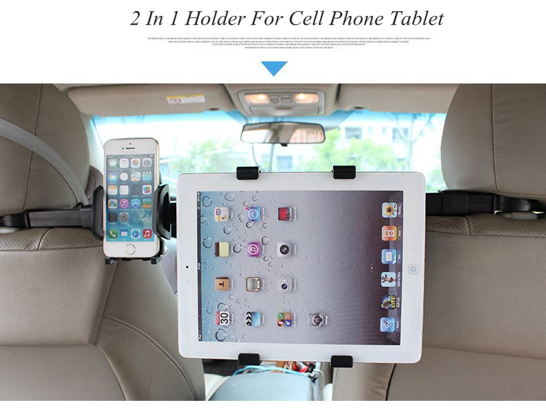Universal 2 In 1 Car Phone Tablet PC Mount Holder For Back Seat Head Rest For iPhone iPad Samsung