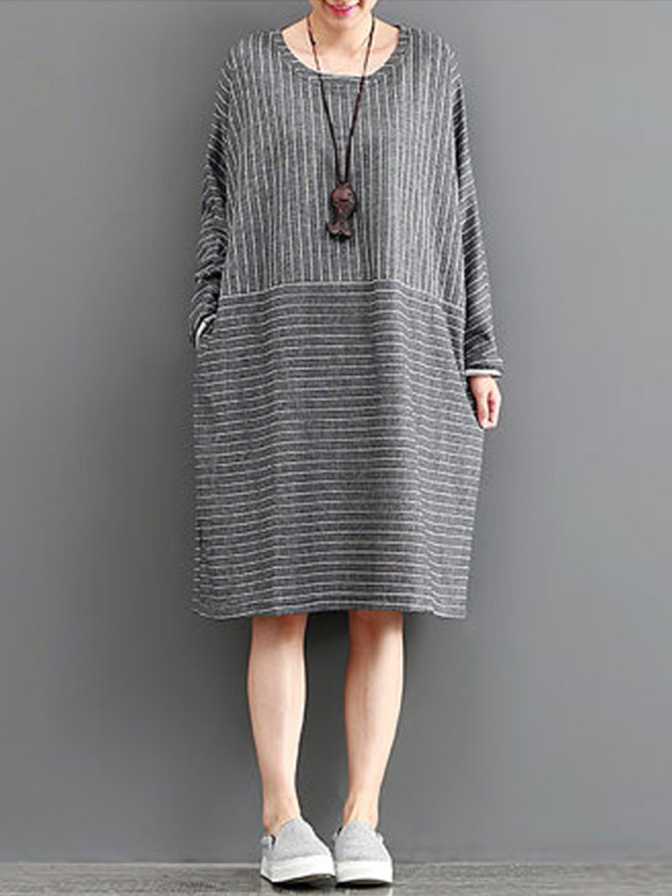 S-5XL Striped Knee-Length Dress