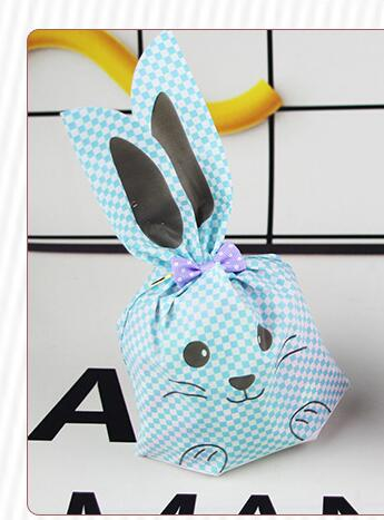 50Pcs/Lot Pink and Blue Cute Rabbit Cookie Bags Plastic Candy Biscuit Packaging Bag Wedding Candy Gift Self-adhesive Plastic Packing Bags Party Supplies