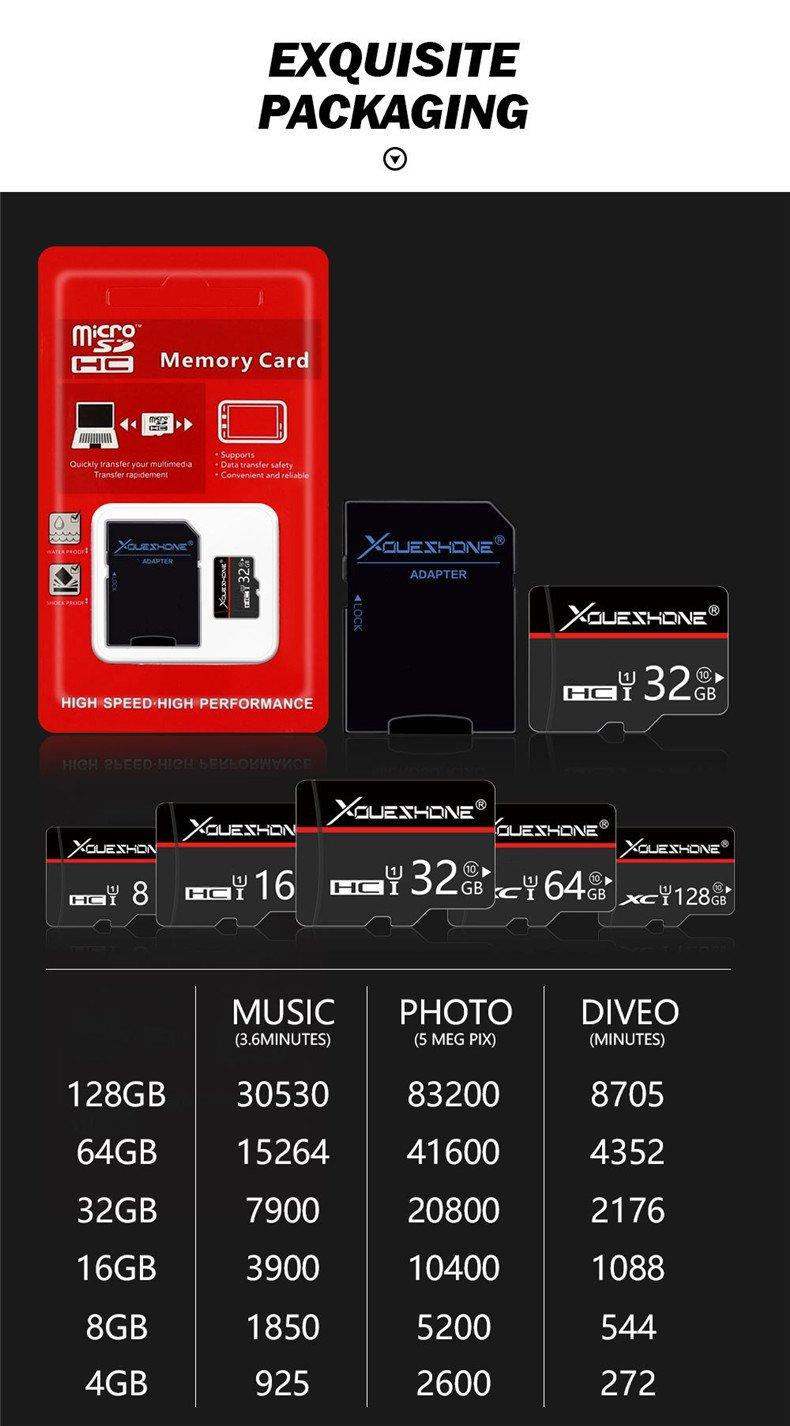 Xoueshone 32GB Class 10 High Speed Memory Card TF Card with Adapter for Mobile Phone Camera GPS