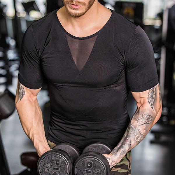 Seamless Upgrade Version Of NY043 Strong Mesh Blister Body Vest Men's Body Sculpting Sport Tops