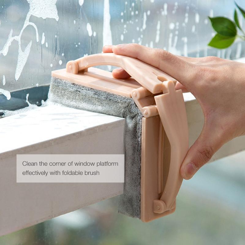 HonanaBrossedenettoyagedebassin de salle de bains de fenêtre éponge de poche créative à la main