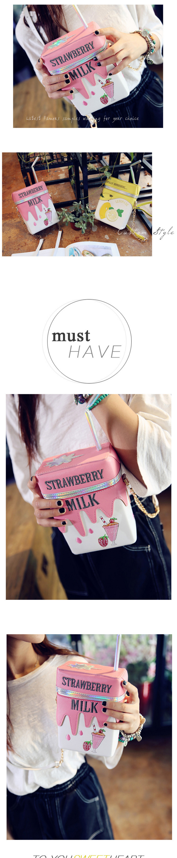 Women Funny Shoulder Bag Strawberry Milk Box Crossbody Bags Girl Small Bag Purse