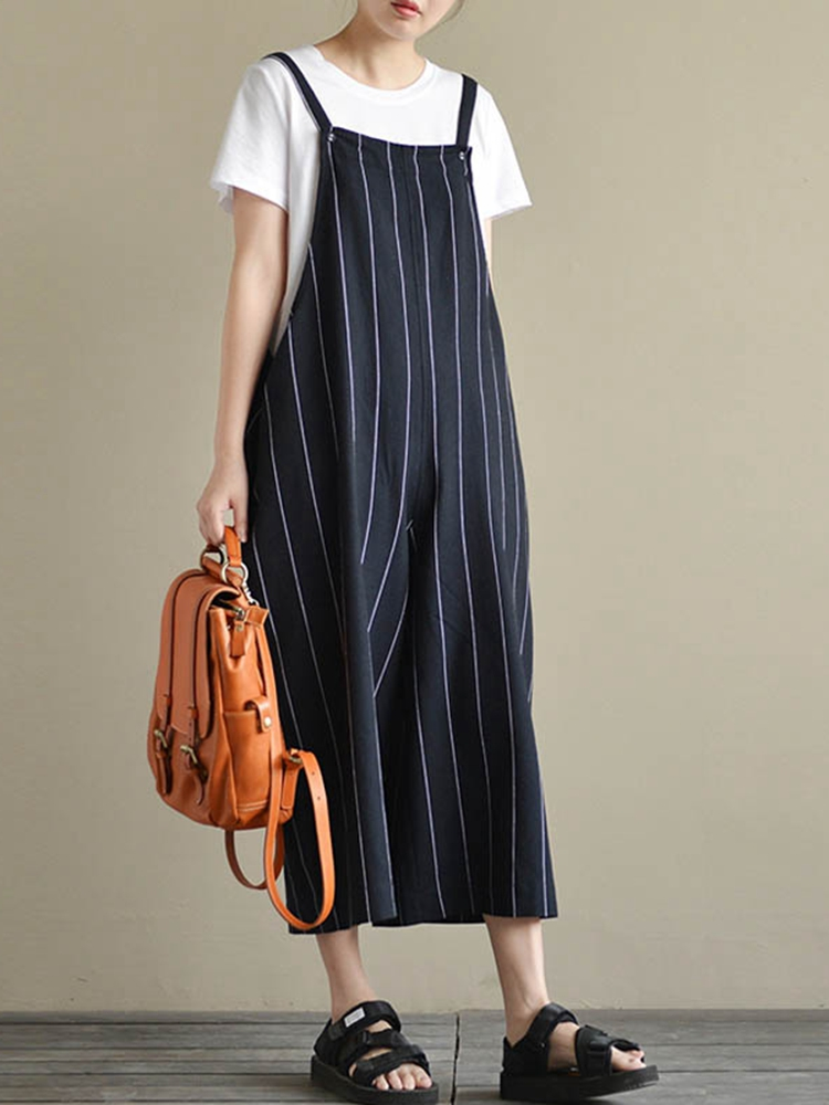 M-5XL Striped Wide Leg Jumpsuit