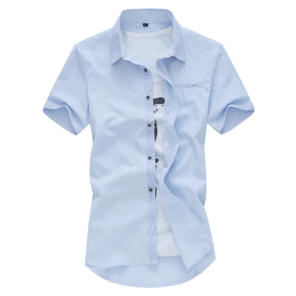 Mens Short Sleeve Fashion Casual Summer Cotton Label Shirts Plus Size M-3XL