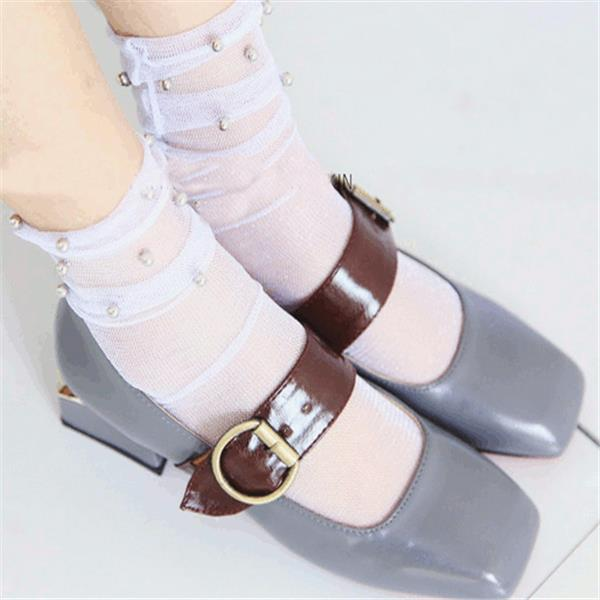 Women Girl Black Harajuku Fish Net Socks Hollow Out Breathable Sexy Pearl Mesh Ankle Socks