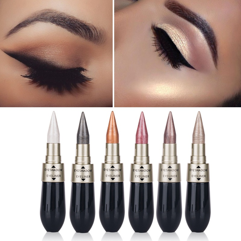 HengFang Двойное использование Shimmer Eye Shadow Black Eyeliner Палка