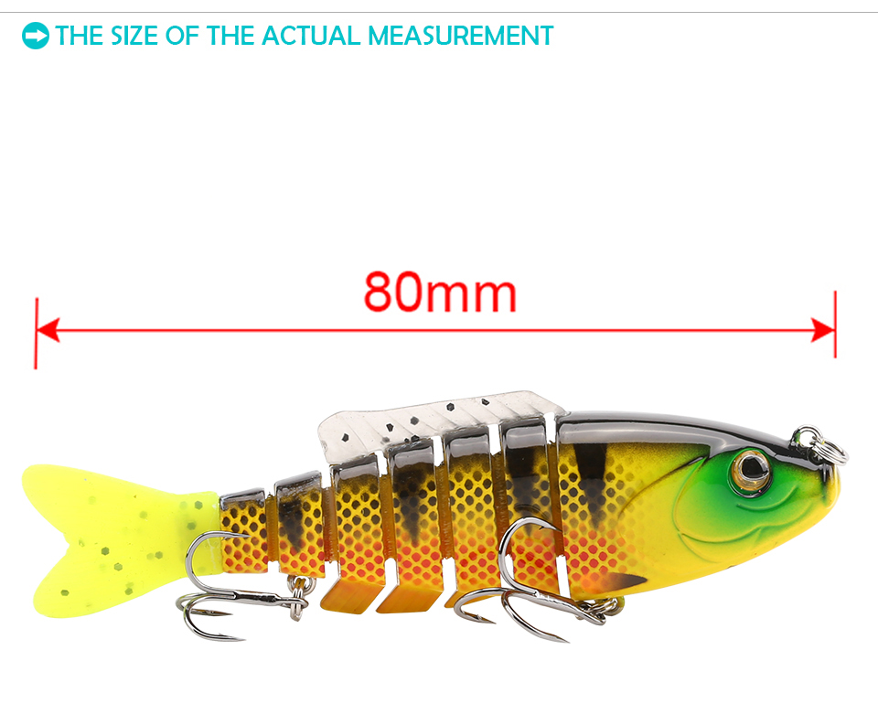 SeaKnight SK001 1PCS Hard Fishing Lure 80MM 19G Sinking Swimbait 7 Sections Jointed Bait