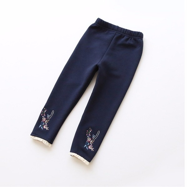 Baby Children Girl Floral Embroidery Lace Stitching Leggings