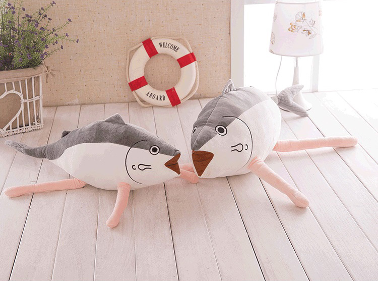 Creative Cute Cartoon Soft Lovely Simulation Salted fish Shaped Pillow Kids Plush Gift Cushion