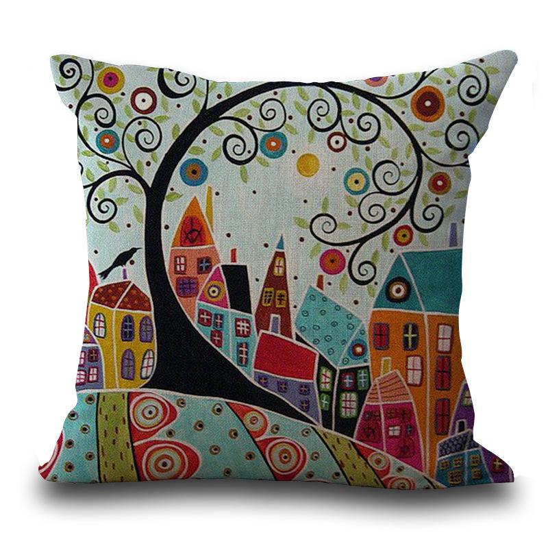 Honana PC-245 Linen Vintage European Building Style Home Pattern Decorative Pillowcase