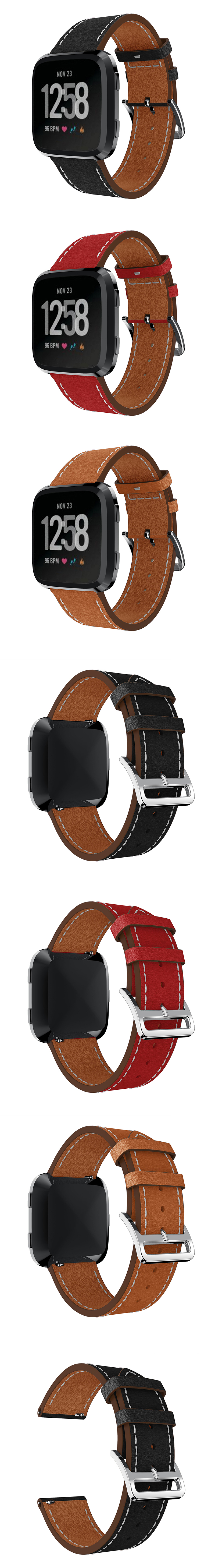 23mm Leather Watch Band Replacement For Fitbit Versa