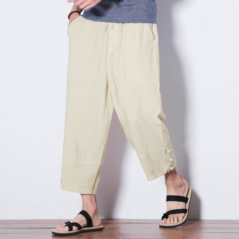 INCERUN Men's Fashion Casual Solid Color Loose Pants