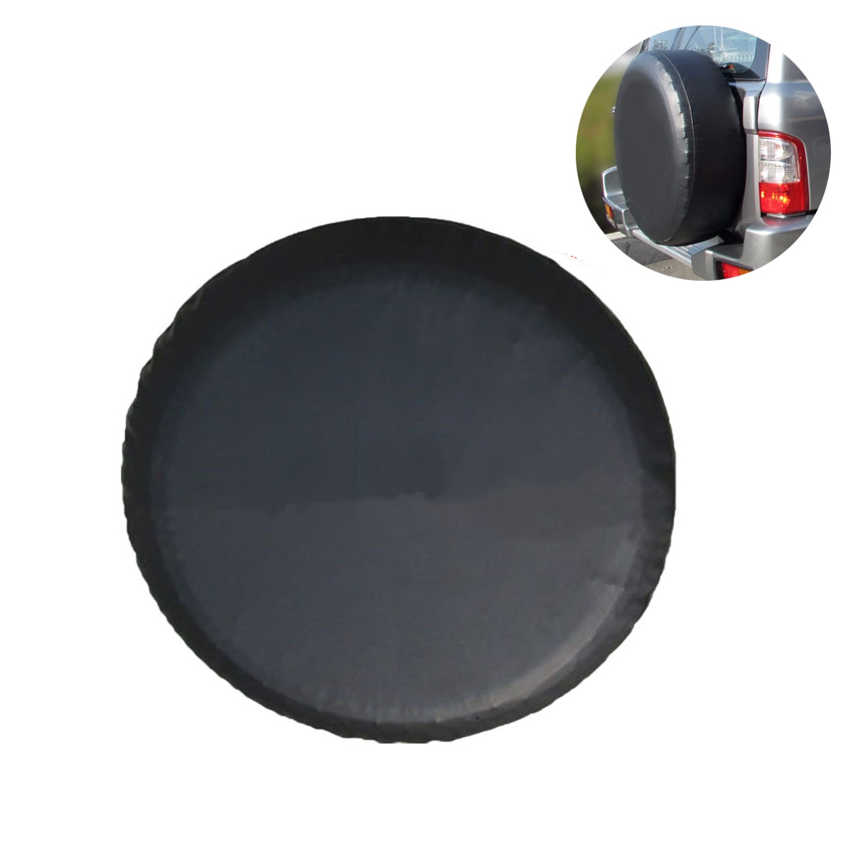 15 Inch Black PVC Leather Spare Wheel Tire Cover Waterproof Size M for Jeep/ Wrangler/ SUV Car