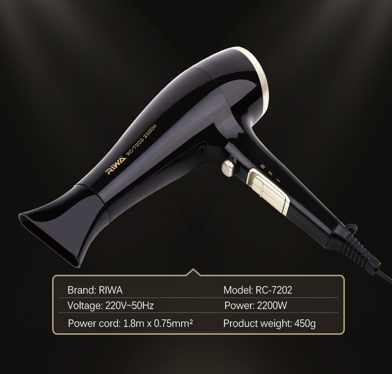 RIWA RC-7202 2200W Household Electric Hair Dryer Air Temperature Adjustment Fast Drying Hair Blower
