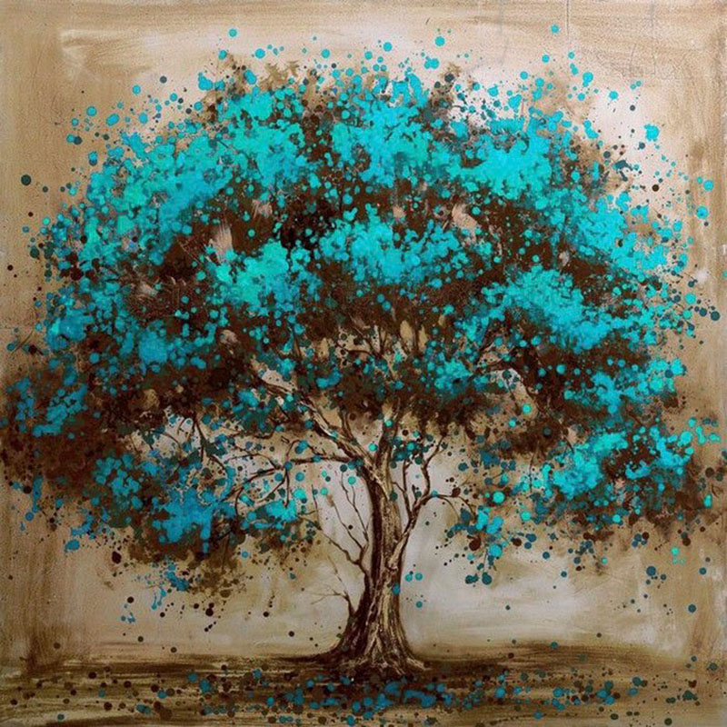 5D DIY Diamond Cartoon Tree Painting Bead Embroidery Cross Stitch Kit Diamond Mosaic Scenic Fabric Needlework Decoration Art for Home Room Wall Decorations