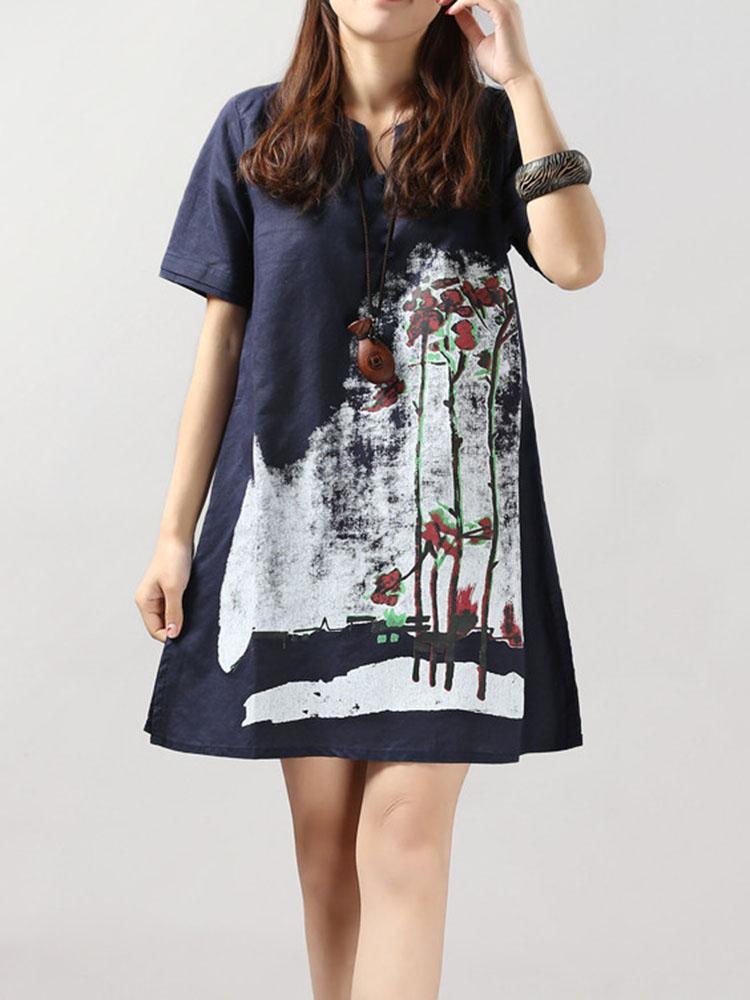 Loose Women Short Sleeve Ink Printing Cotton Linen Mini Dress