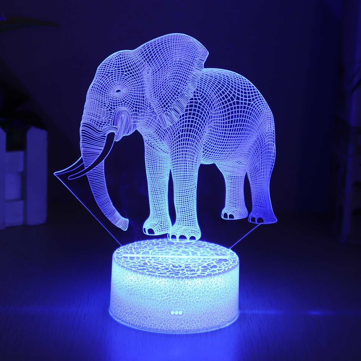 Elephant Model Remote Control Touch Switch 3D Acrylic LED 7/16 Colors Colorful Light Christmas Gift