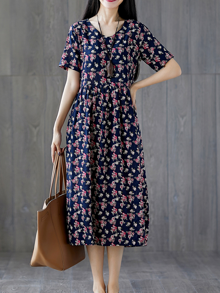 Casual Cotton Loose Print O-Neck Short Sleeve Dress