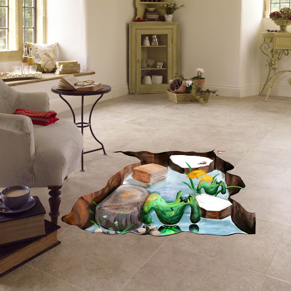 PAG Multi-pattern Creative 3D Large Removable Wall Sticker Home Floor Decoration