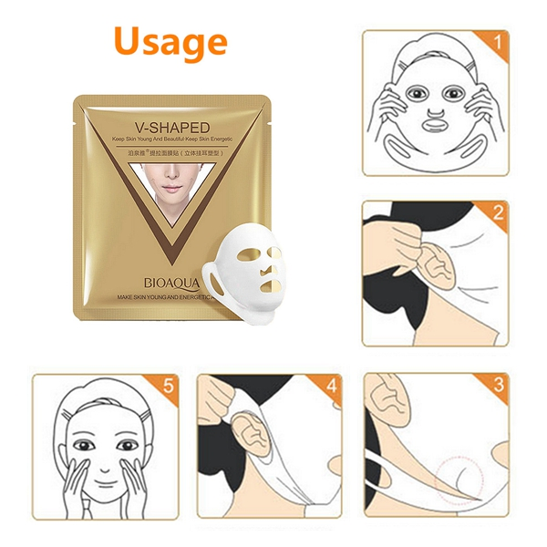 BIOAQUA V-Shaped Facial Mask Essence Sheet Moisture Face Pack Skin Care Anti Aging 1pc 40g