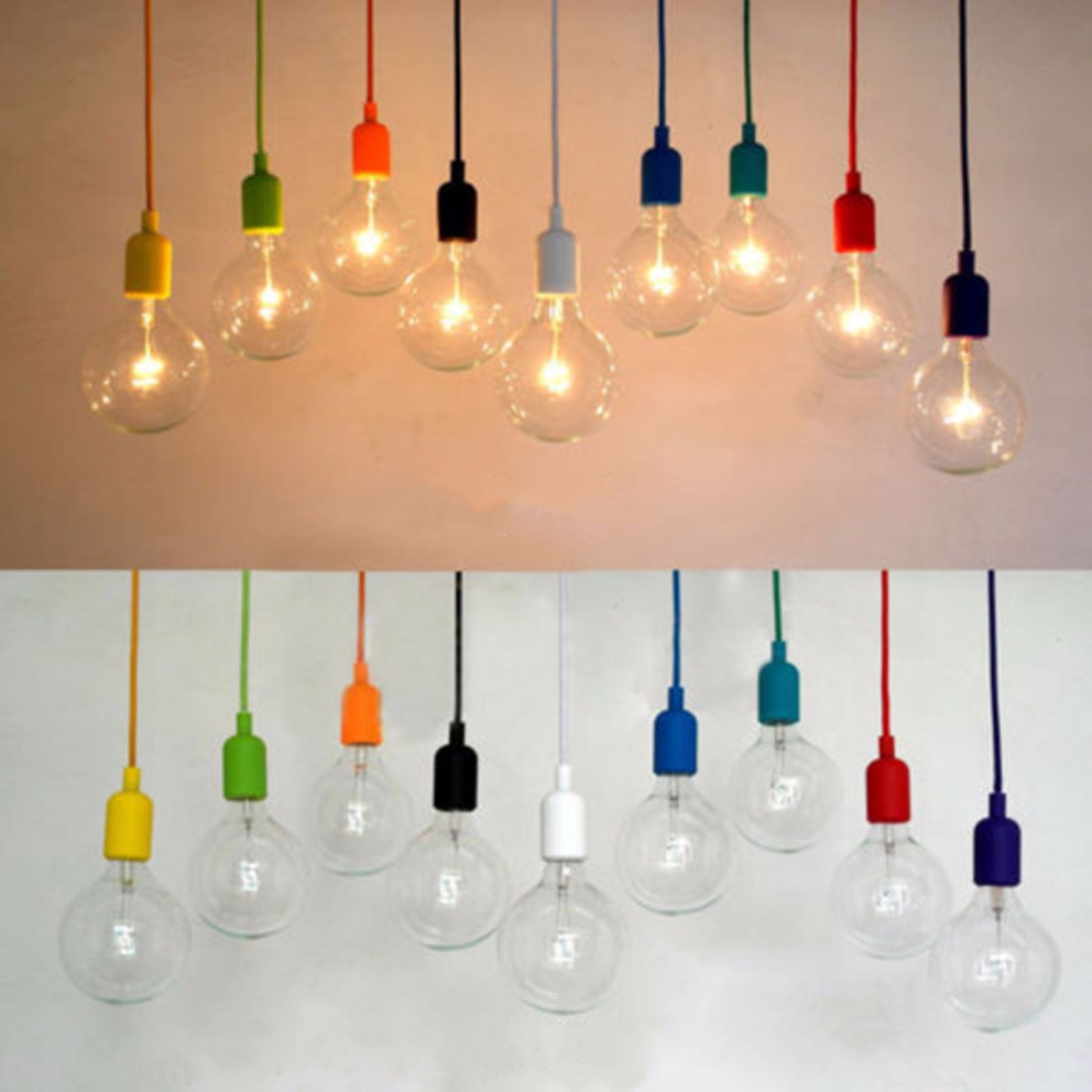 Colorful E27 E26 Silicone Ceiling Lamp Holder Light Socket Customize Rope Cord