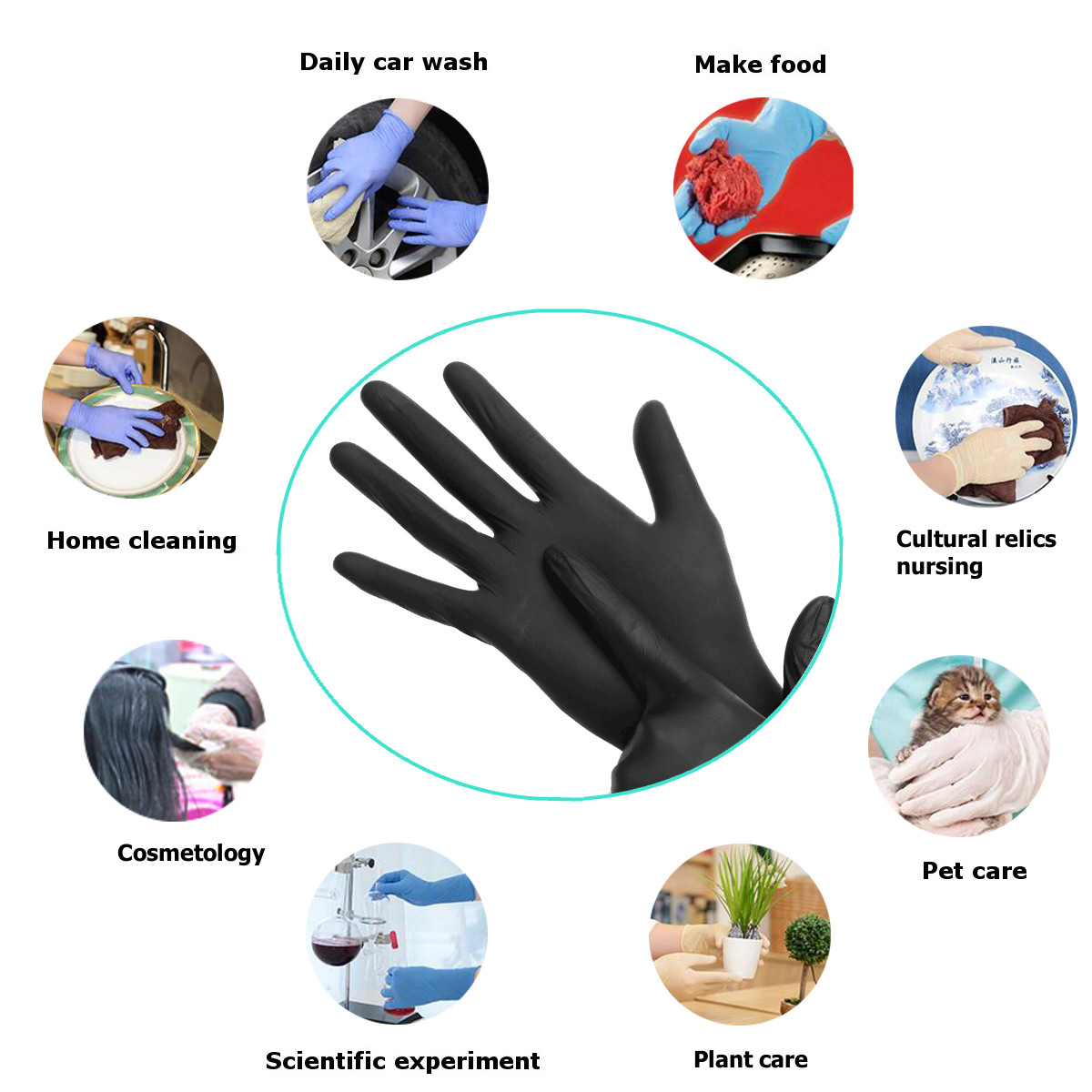 100pcs Industrial Disposable Nitrile Latex Black Gloves Powder Free M/L/XL