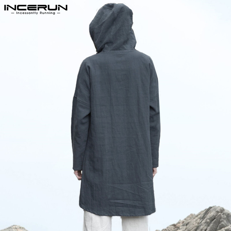 INCERUN Loose Men Hooded Chinese Vintage Tops