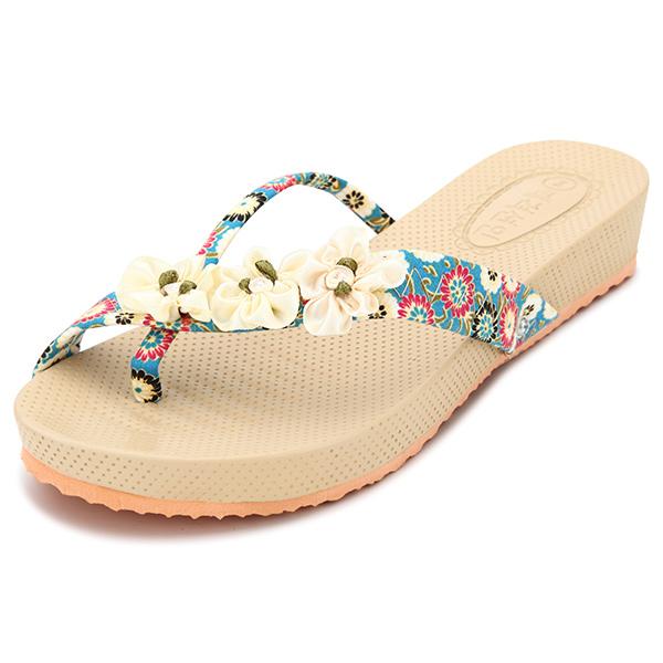 Women Summer Flower Peep Toe Sandals Outdoor Beach Flip Flops Slippers