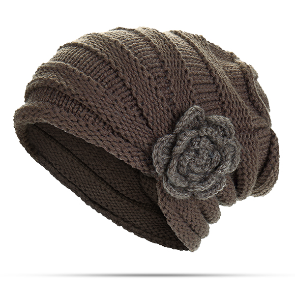 Women Flexible Flower Slouch Knit Hat Earmuffs Beanie Cap