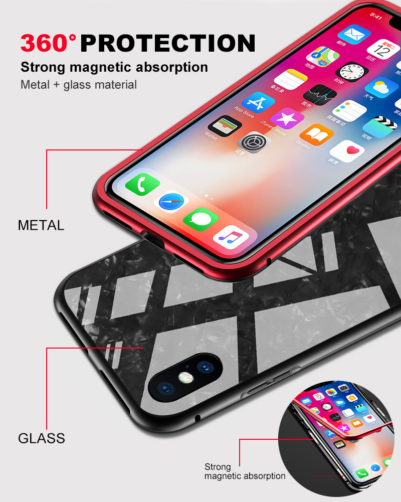 Bakeey Magnetic Adsorption Aluminum Glass Protective Case with Tempered Glass for iPhone X
