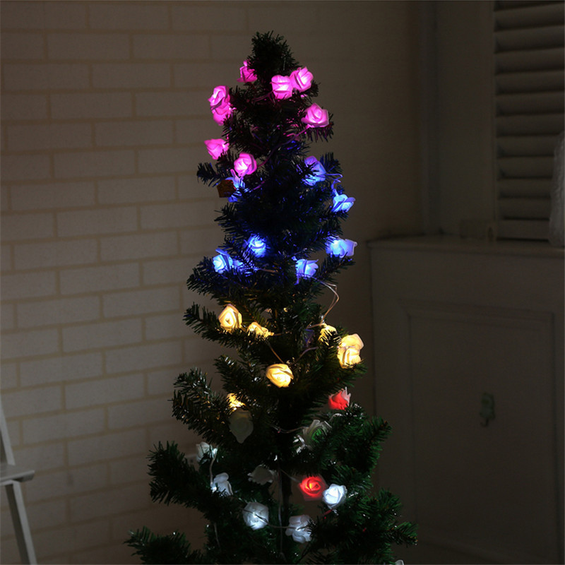 Battery Powered 2.3M 20LEDs Indoor Bedroom Decor Wedding Rose Flower Fairy String Light