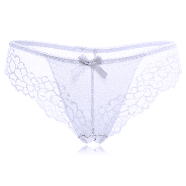 Women Sexy Lace Mesh Low Waist Underwear Embroidery Breathable Bow Panties