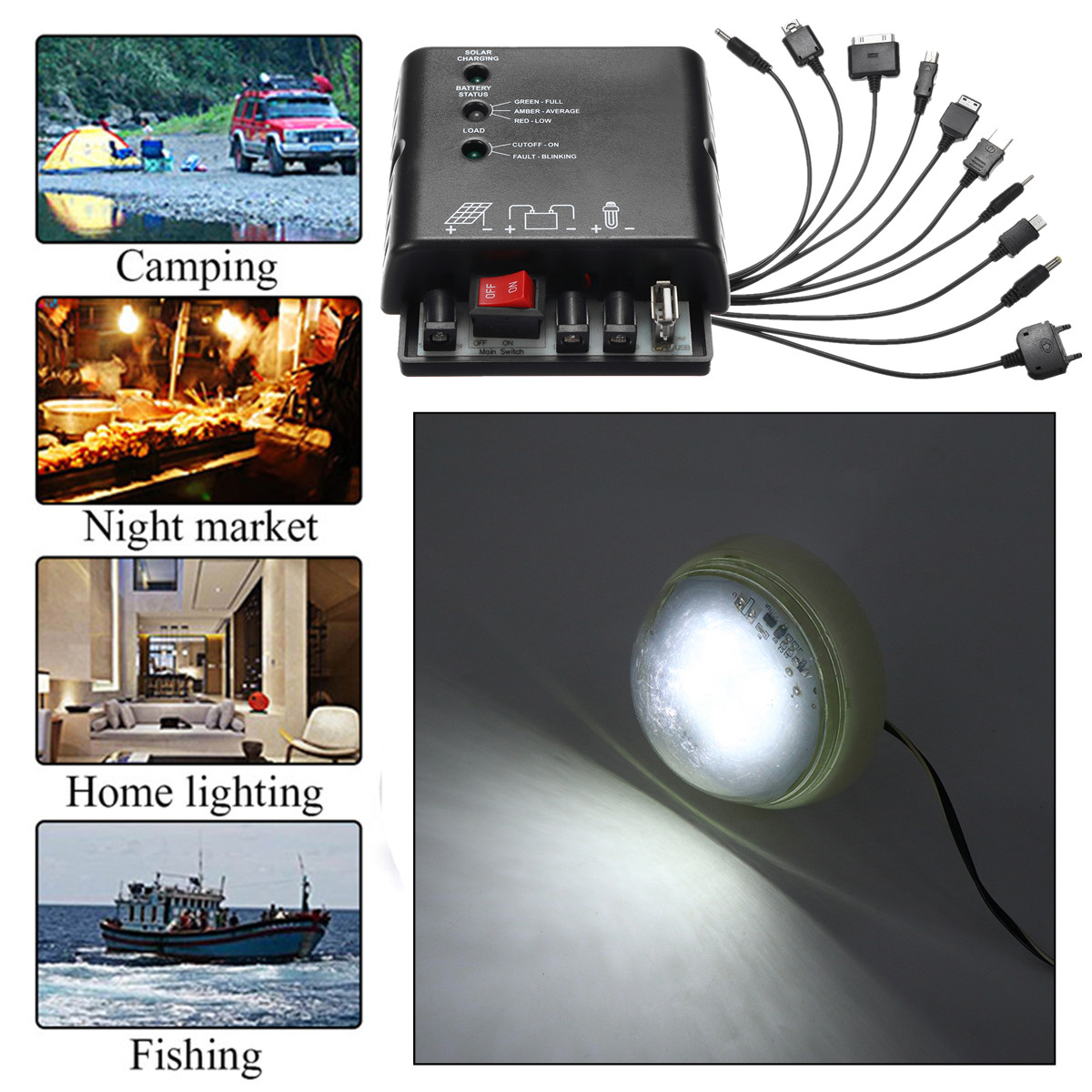Portable Solar Panel Generator Solar Generator System for Camping Home With LED Bulbs
