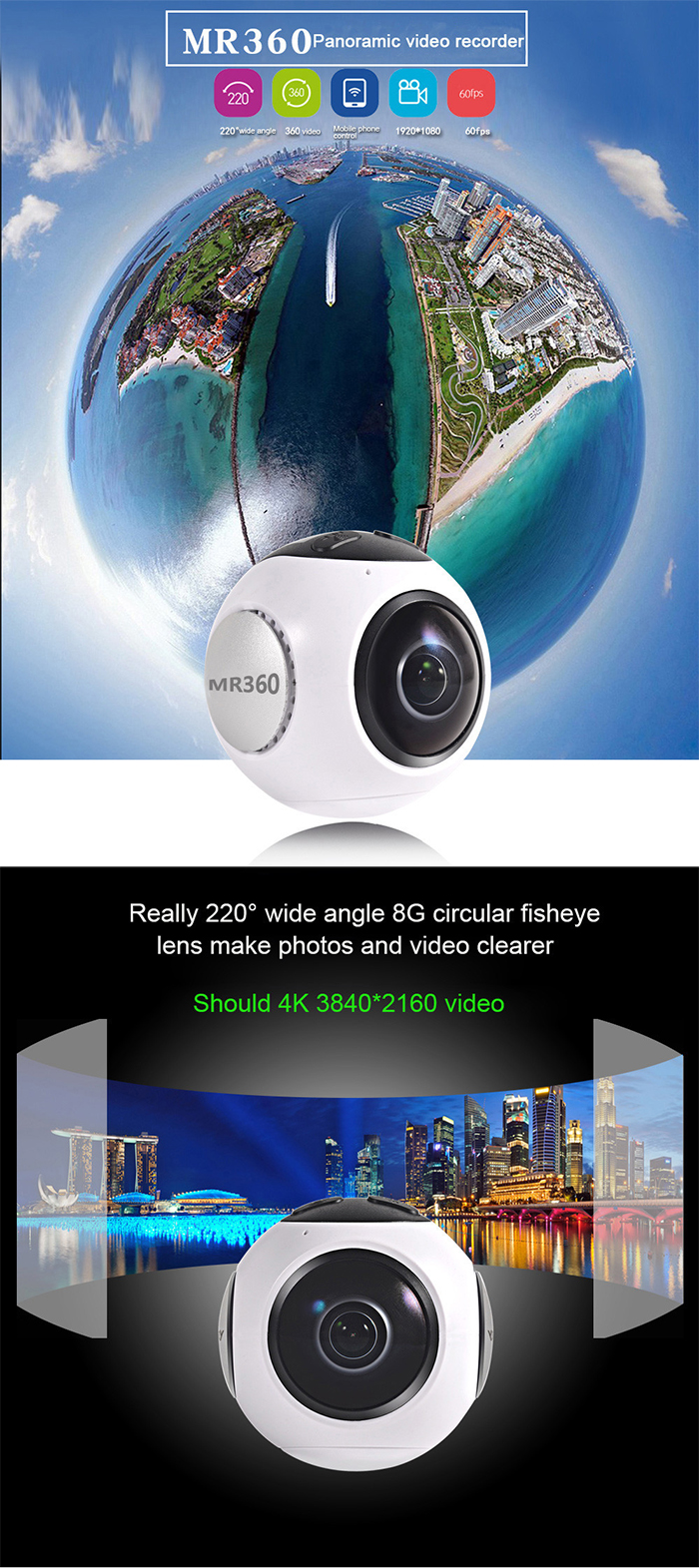 XANES MR360 360*220 Wide Angle Screen Panoramic VR Camera 1080p Multiple 3D Preview Modes 8G Fisheye Lens Ultra HD WiFi Mini Sports Camera