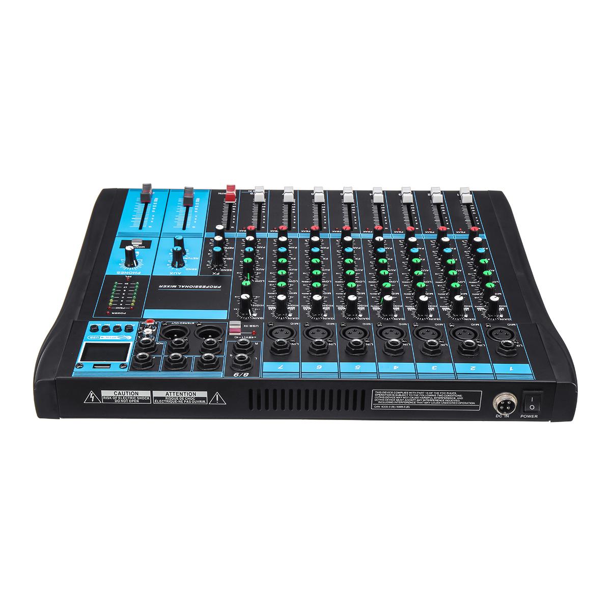 8 Channel bluetooth Live Studio Audio Mixer Mixing Console USB +48V Phantom