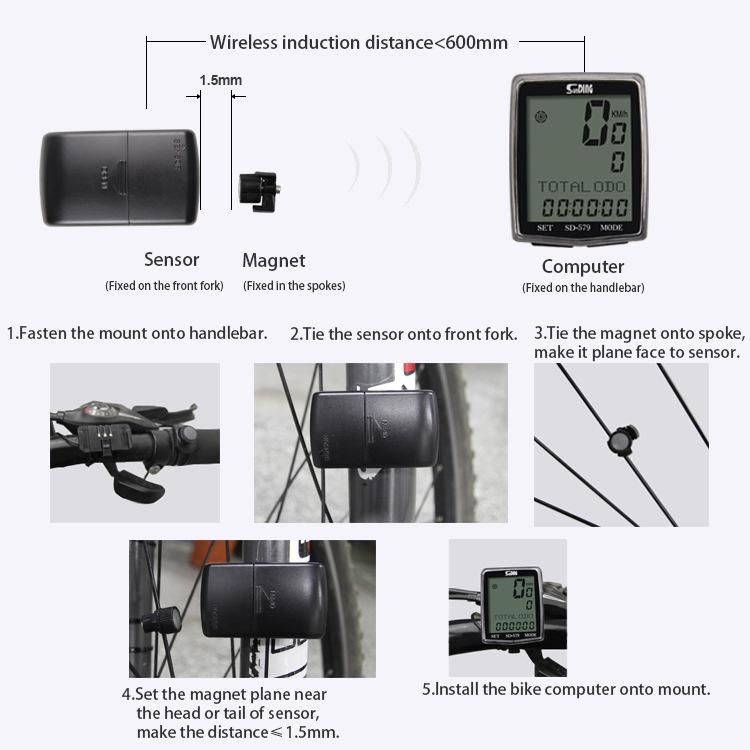 SUNDING SD-579 Wireless Bike Computer Multifunction Waterproof Backlight Bicycle Speedometer Odometer Sensor
