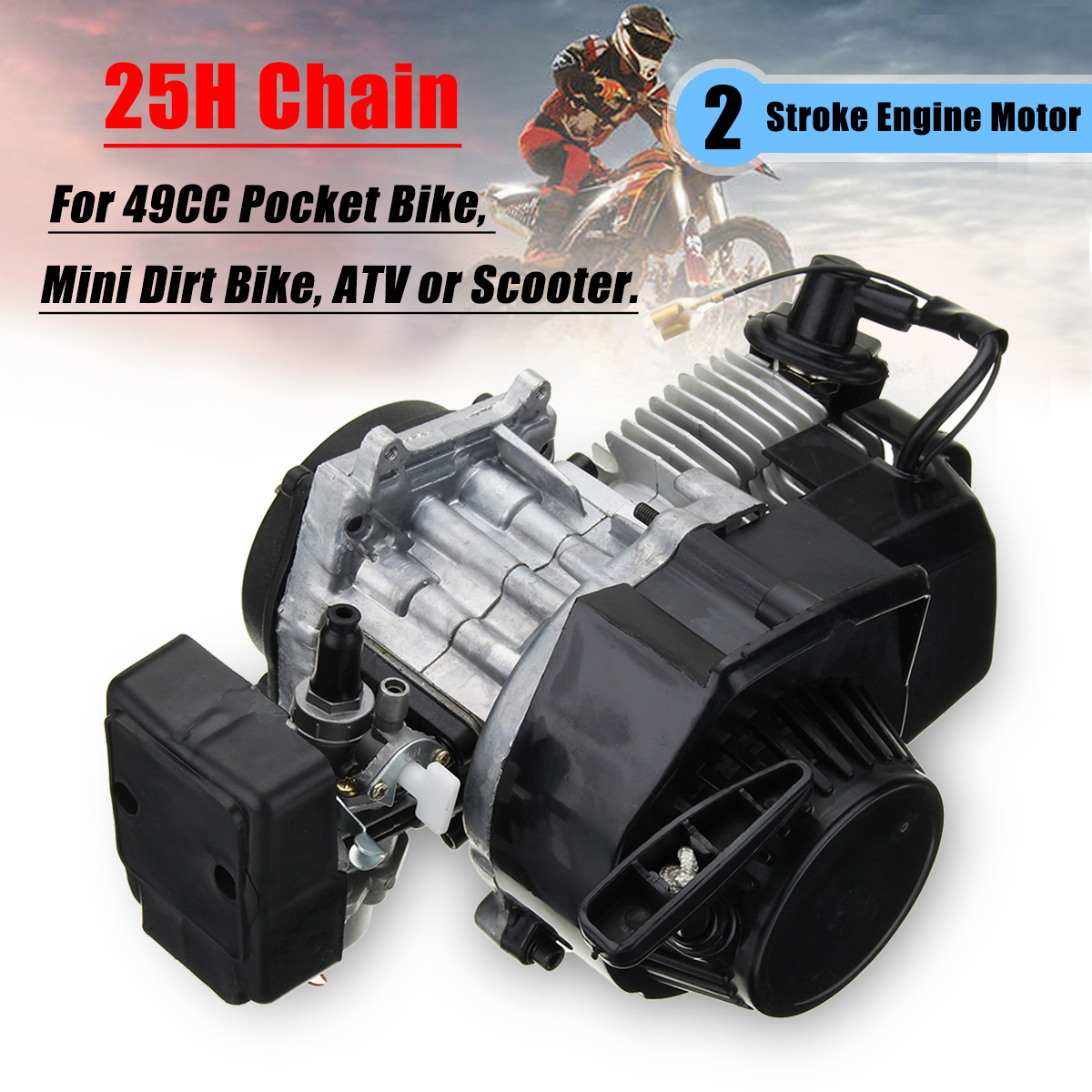 47cc 49cc 2 Stroke Pull Start Engine Motor For Mini Pocket Dirt Bike Ignition Wiring Diagram Shipping Methods