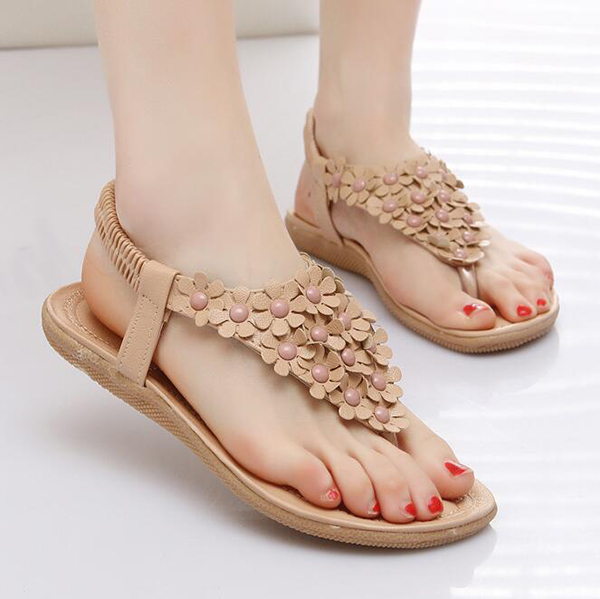 Women New Flowers Lovely Summer Comfortable Beach Outdoor Flat Sandals Shoes