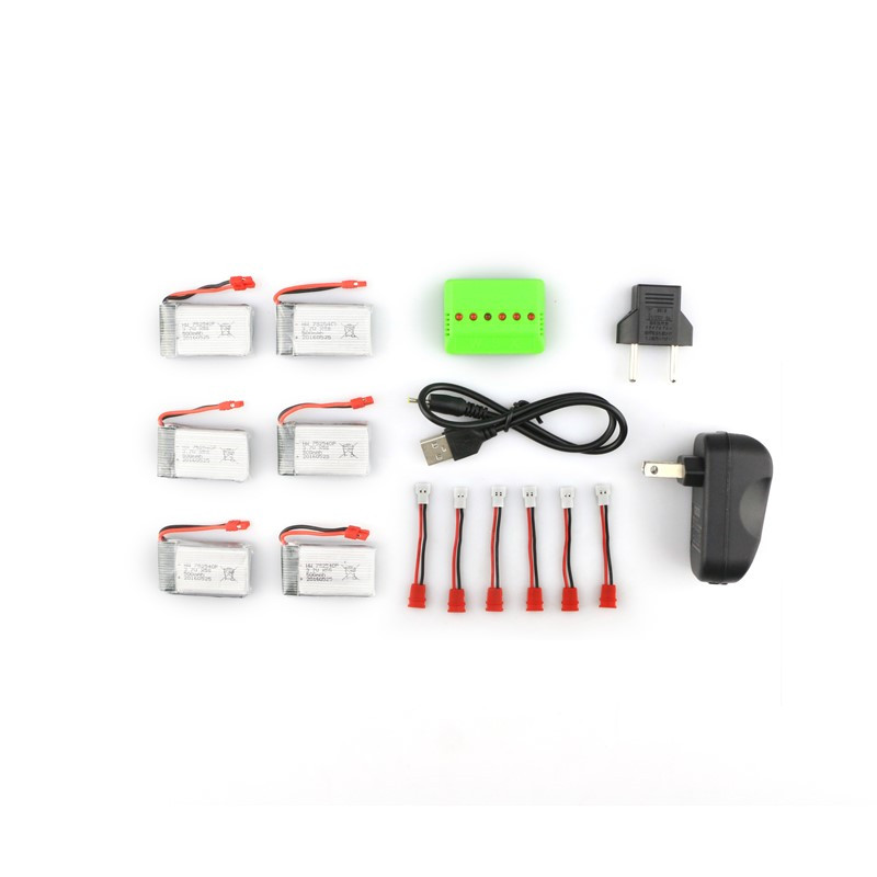 Syma X5HC X5HW RC Quadcopter Spare Parts 6Pcs 3.7V 500MAH 25C Battery And Charger Set X6A-A12